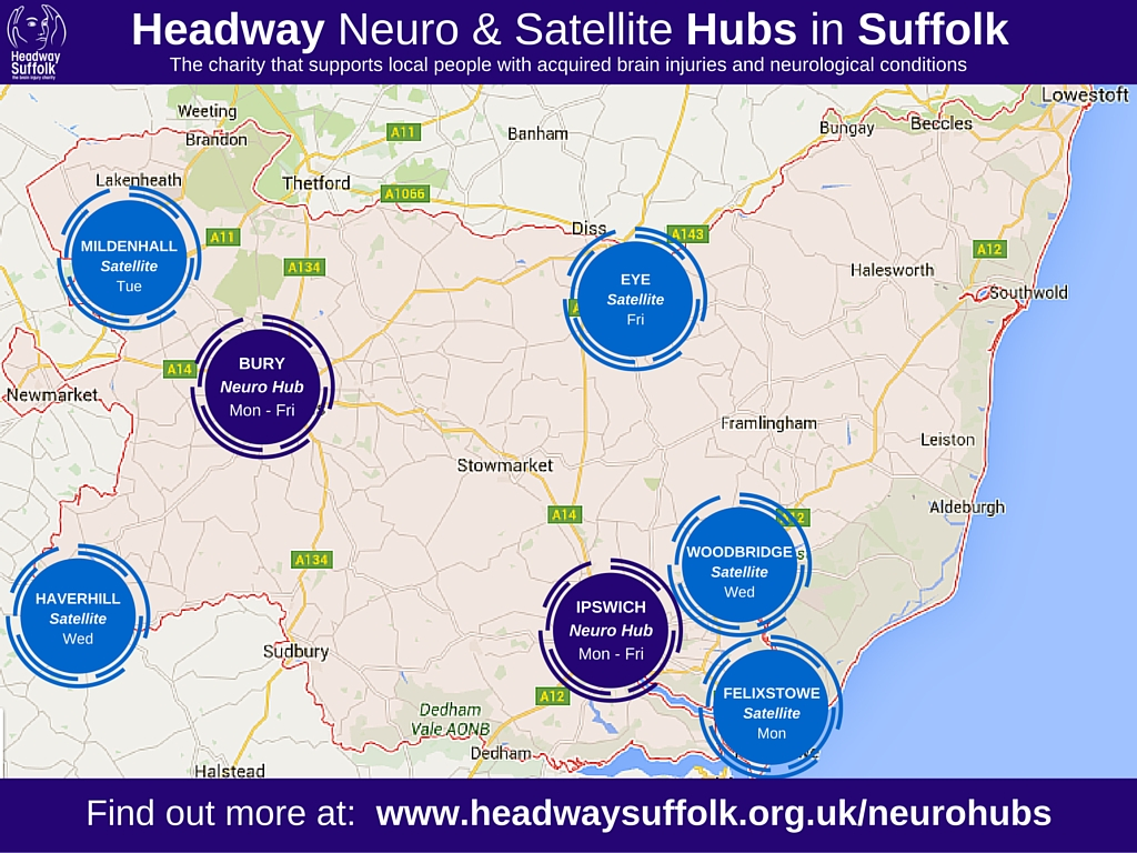 Headway Suffolk Hubs map