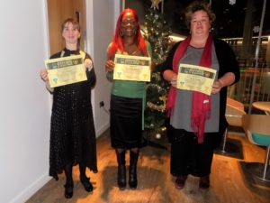 Award winners Amy Cowley, Mary Goodhand and Ruby Alston.